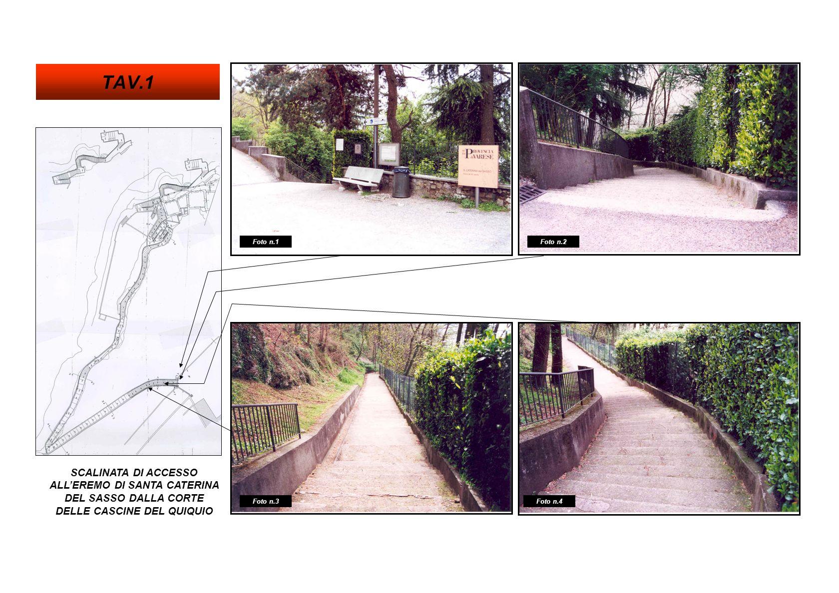 TAV.1 Foto n.1. Foto n.2. SCALINATA DI ACCESSO ALL'EREMO DI SANTA CATERINA DEL SASSO DALLA CORTE DELLE CASCINE DEL QUIQUIO.