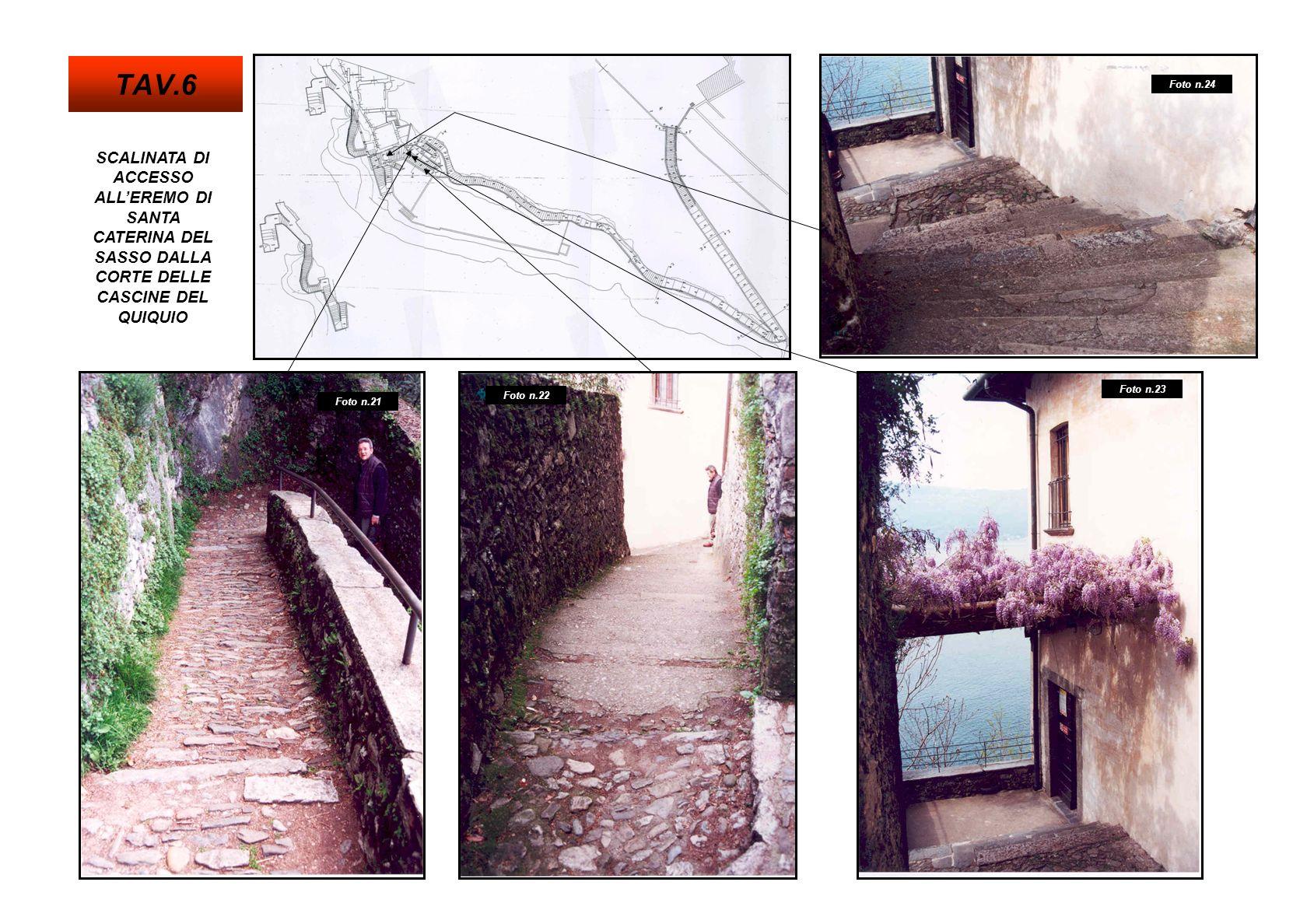 TAV.6 Foto n.24. SCALINATA DI ACCESSO ALL'EREMO DI SANTA CATERINA DEL SASSO DALLA CORTE DELLE CASCINE DEL QUIQUIO.