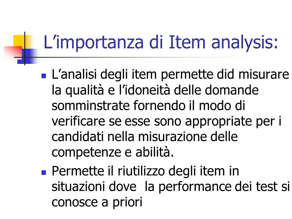 L'importanza di Item analysis:
