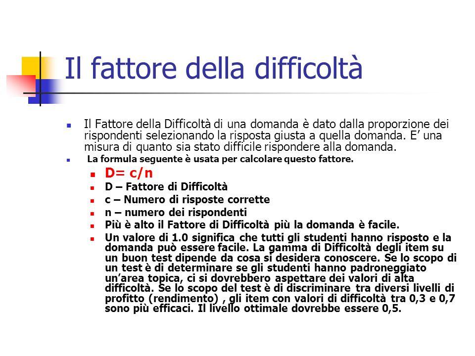 Il fattore della difficoltà