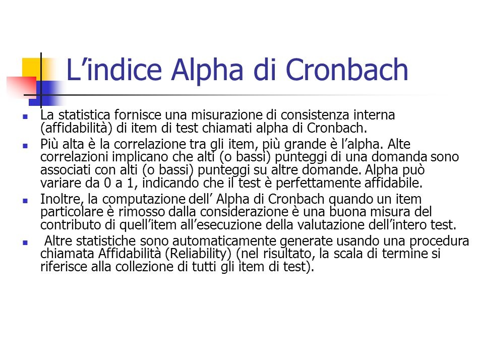 L'indice Alpha di Cronbach