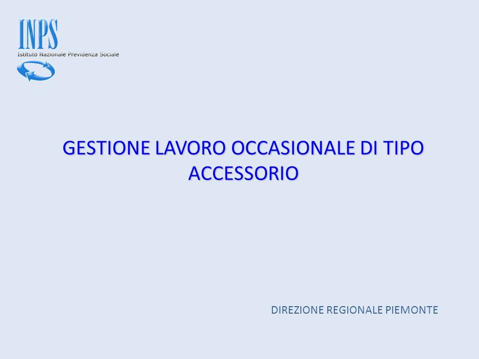 GESTIONE LAVORO OCCASIONALE DI TIPO ACCESSORIO