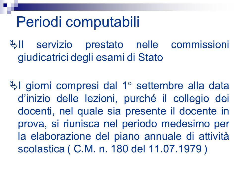 Periodi computabili Il servizio prestato nelle commissioni giudicatrici degli esami di Stato.