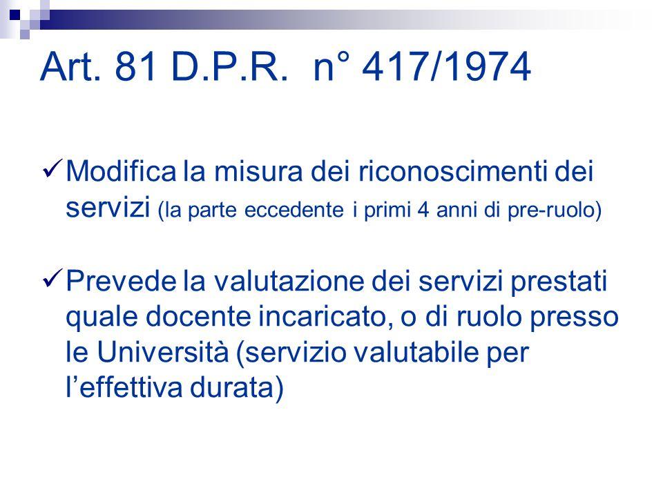 Art. 81 D.P.R. n° 417/1974Modifica la misura dei riconoscimenti dei servizi (la parte eccedente i primi 4 anni di pre-ruolo)