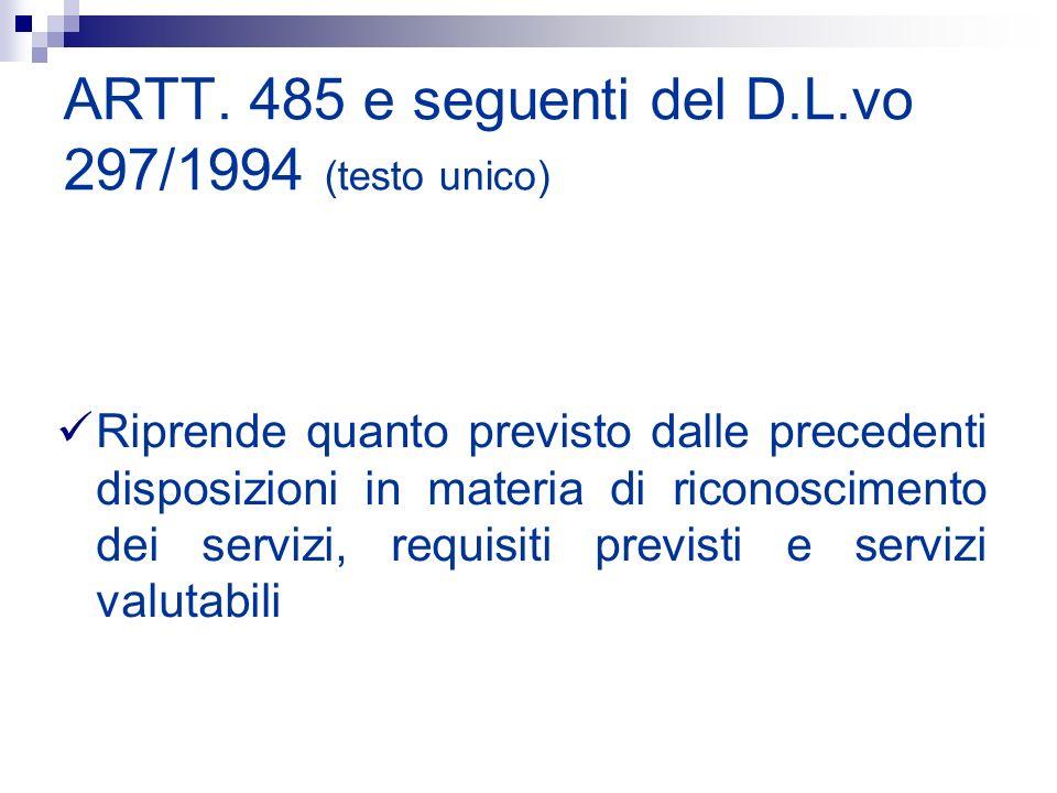 ARTT. 485 e seguenti del D.L.vo 297/1994 (testo unico)
