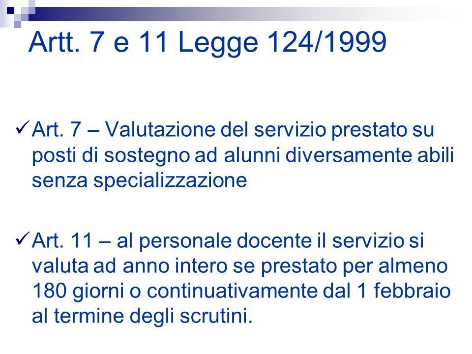 Artt. 7 e 11 Legge 124/1999Art. 7 – Valutazione del servizio prestato su posti di sostegno ad alunni diversamente abili senza specializzazione.