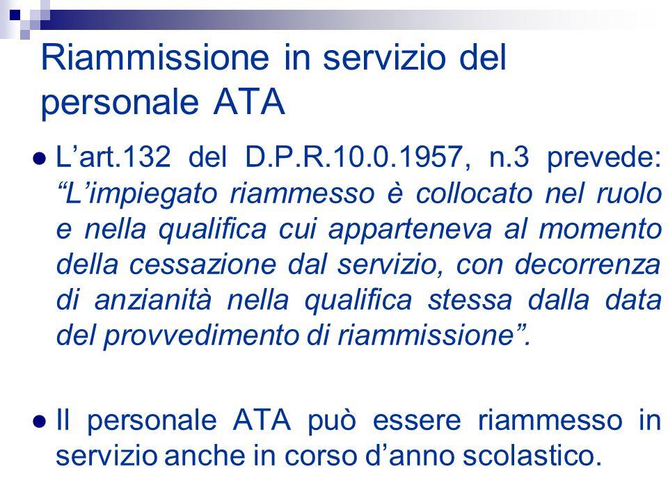 Riammissione in servizio del personale ATA