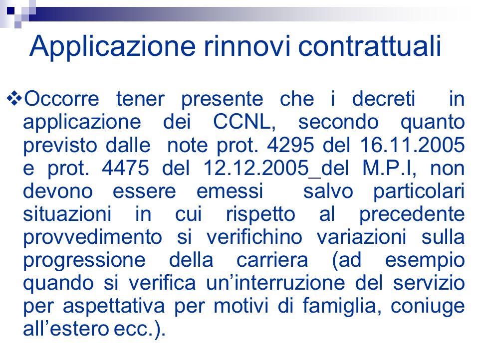 Applicazione rinnovi contrattuali