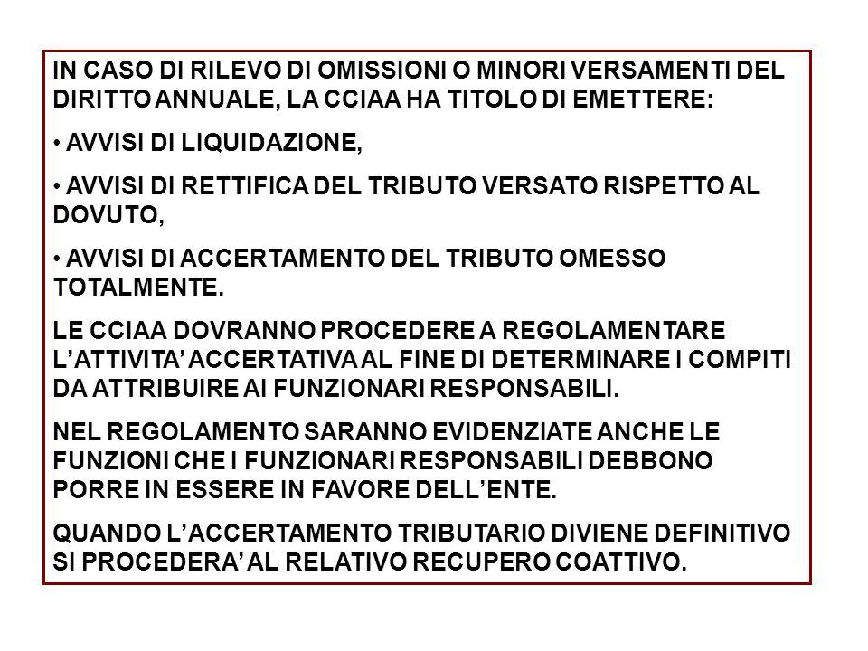 IN CASO DI RILEVO DI OMISSIONI O MINORI VERSAMENTI DEL DIRITTO ANNUALE, LA CCIAA HA TITOLO DI EMETTERE: