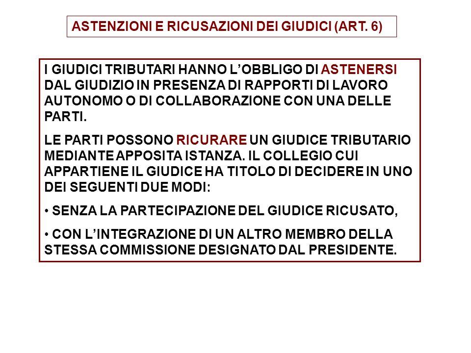 ASTENZIONI E RICUSAZIONI DEI GIUDICI (ART. 6)