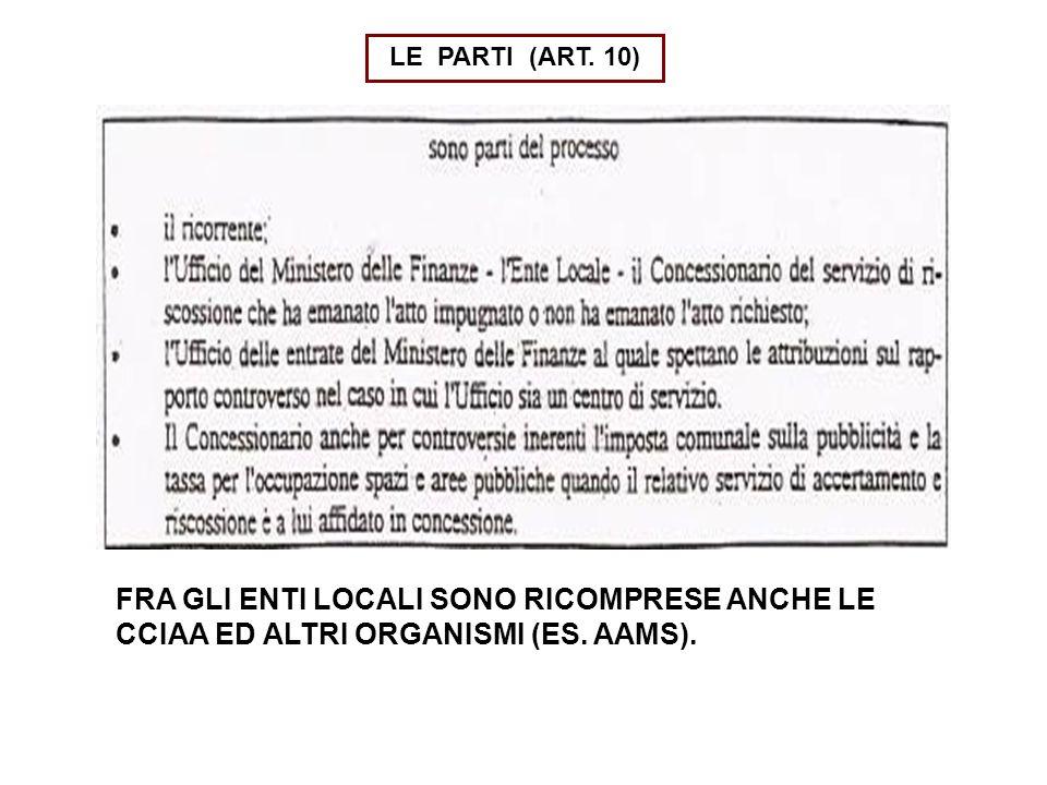 LE PARTI (ART. 10) FRA GLI ENTI LOCALI SONO RICOMPRESE ANCHE LE CCIAA ED ALTRI ORGANISMI (ES.