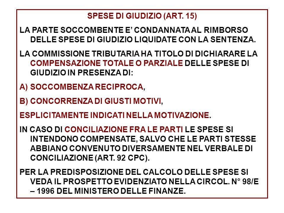 SPESE DI GIUDIZIO (ART. 15)