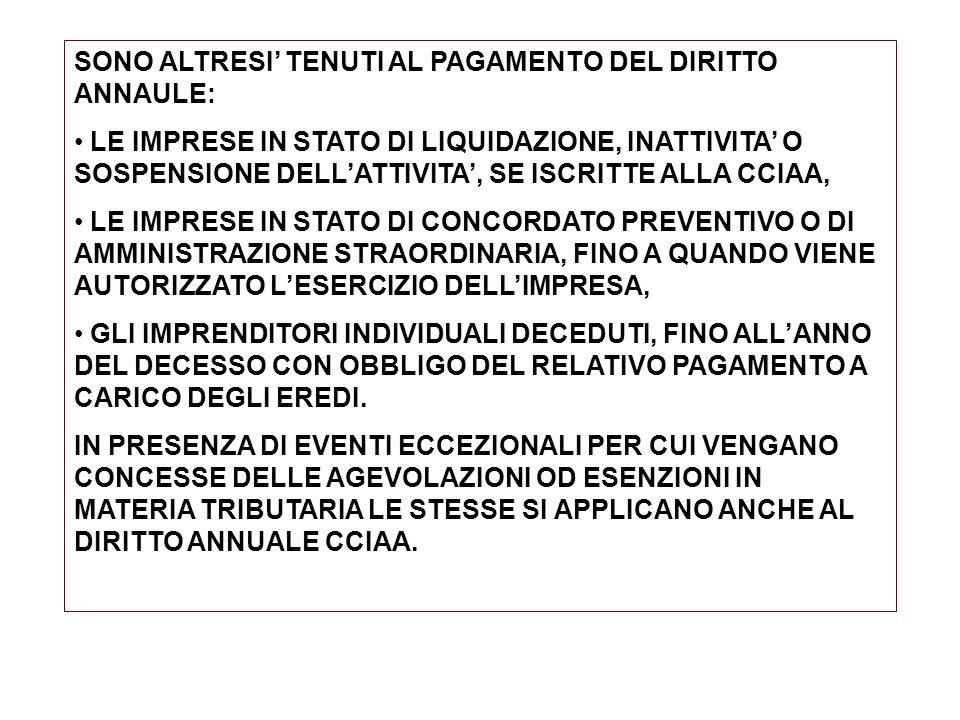 SONO ALTRESI' TENUTI AL PAGAMENTO DEL DIRITTO ANNAULE: