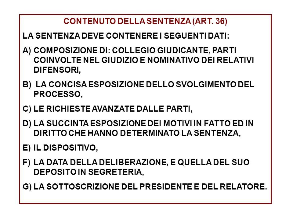 CONTENUTO DELLA SENTENZA (ART. 36)