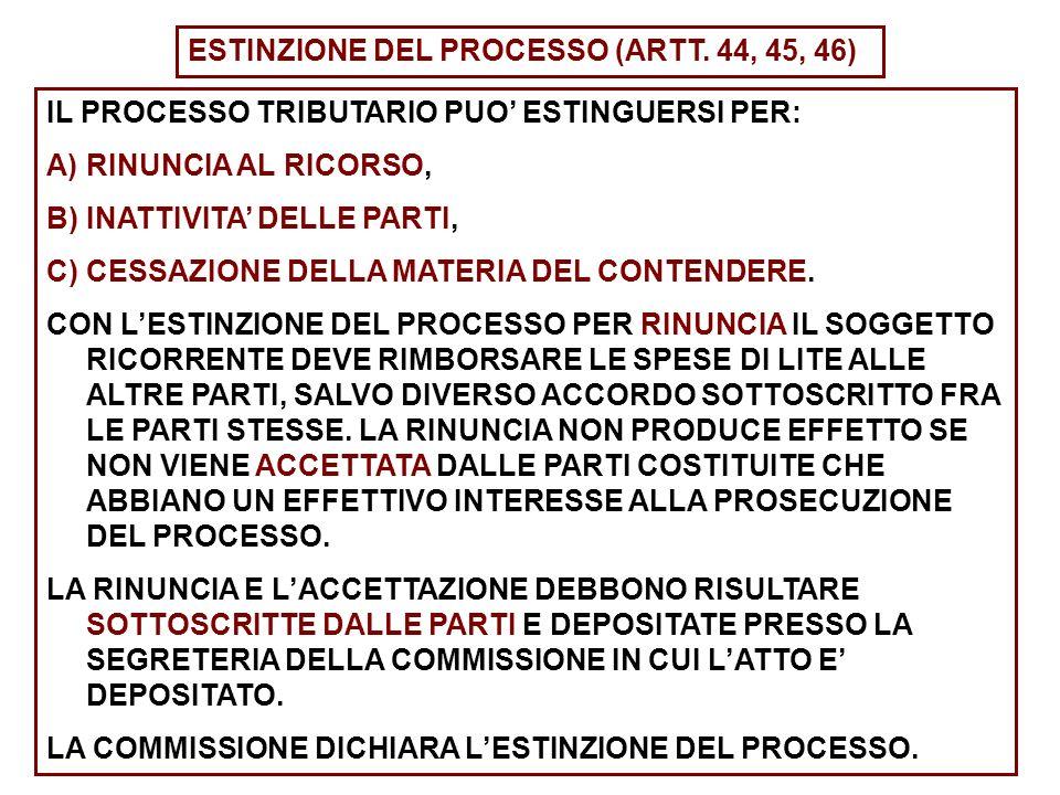 ESTINZIONE DEL PROCESSO (ARTT. 44, 45, 46)