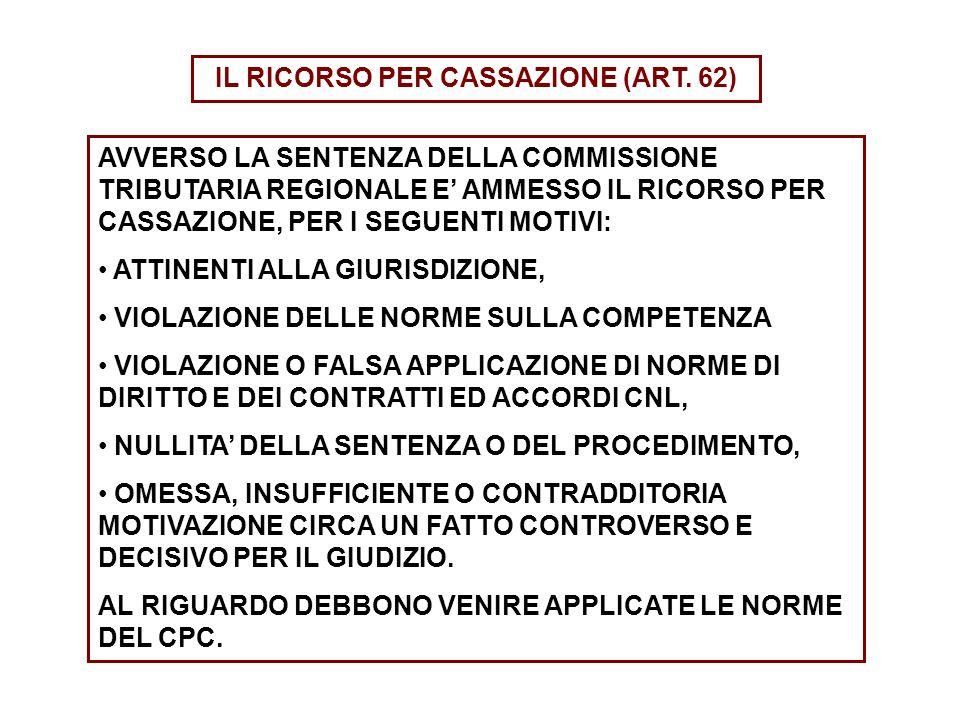 IL RICORSO PER CASSAZIONE (ART. 62)