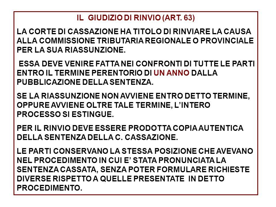IL GIUDIZIO DI RINVIO (ART. 63)