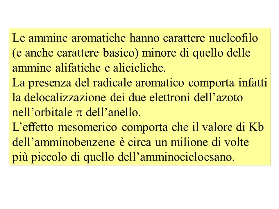 Le ammine aromatiche hanno carattere nucleofilo