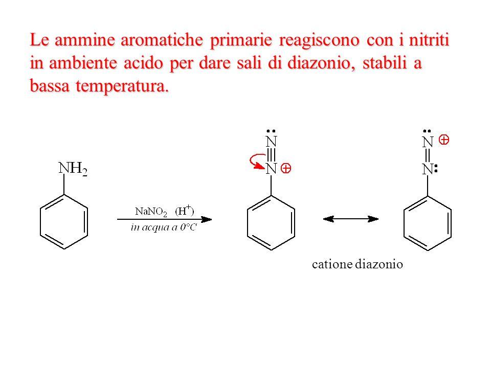 Le ammine aromatiche primarie reagiscono con i nitriti