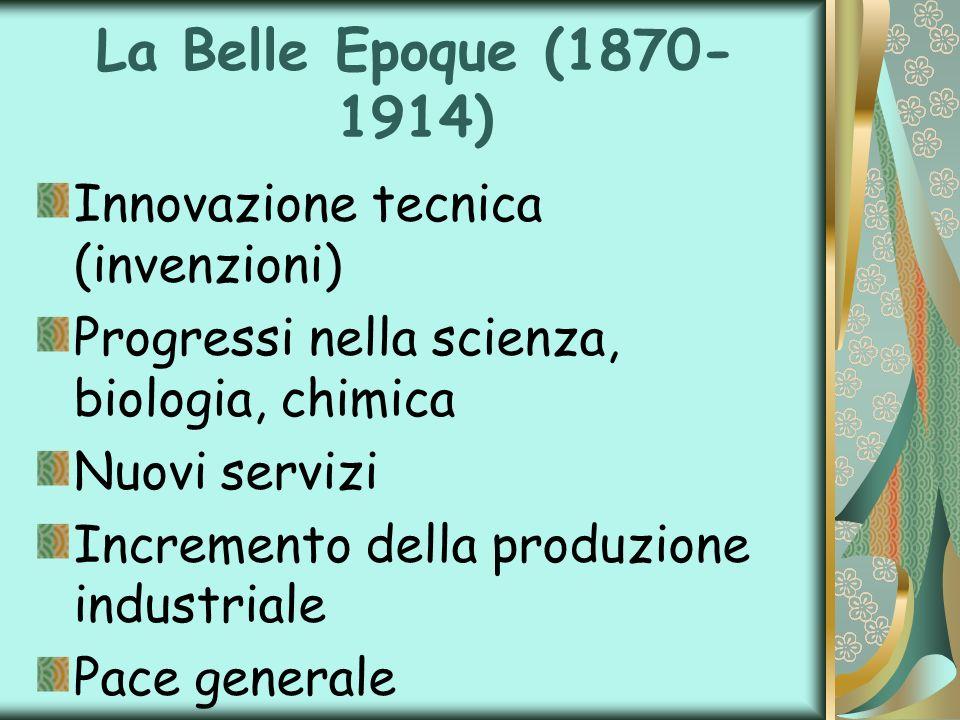 La Belle Epoque (1870-1914) Innovazione tecnica (invenzioni)