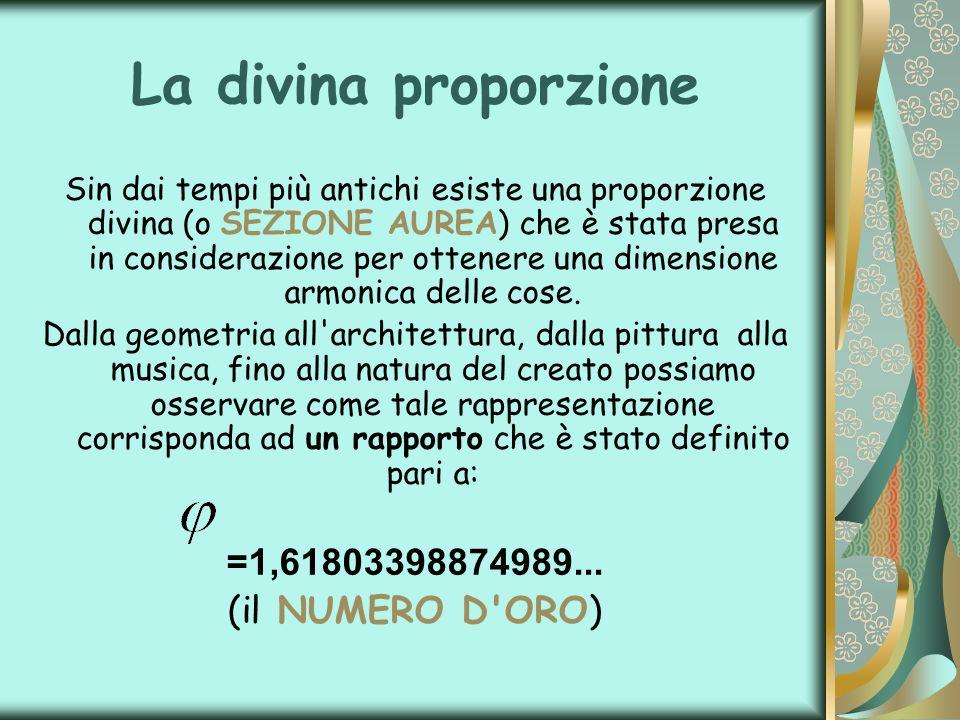 La divina proporzione =1,61803398874989... (il NUMERO D ORO)