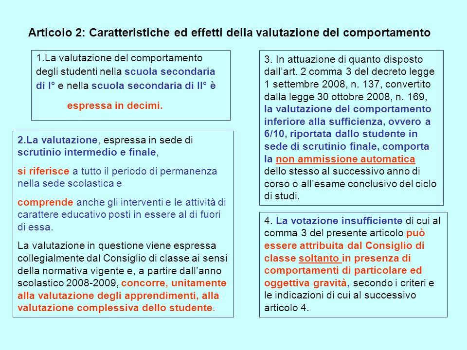 Articolo 2: Caratteristiche ed effetti della valutazione del comportamento