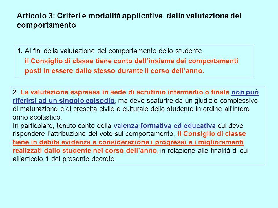 Articolo 3: Criteri e modalità applicative della valutazione del comportamento