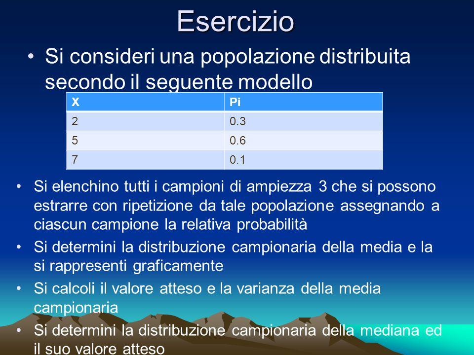 EsercizioSi consideri una popolazione distribuita secondo il seguente modello. X. Pi. 2. 0.3. 5. 0.6.