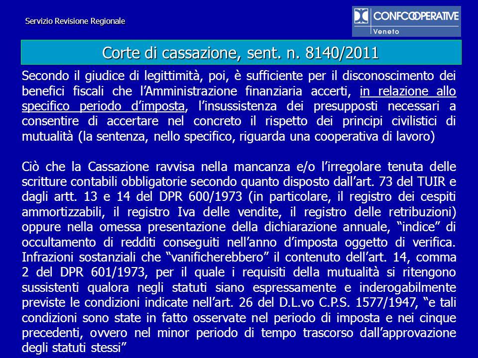 Corte di cassazione, sent. n. 8140/2011
