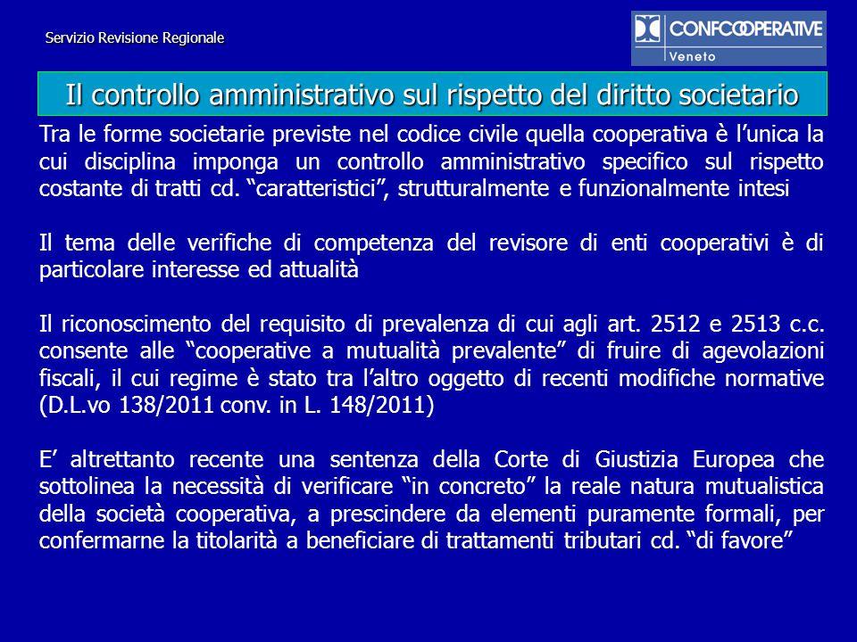 Il controllo amministrativo sul rispetto del diritto societario