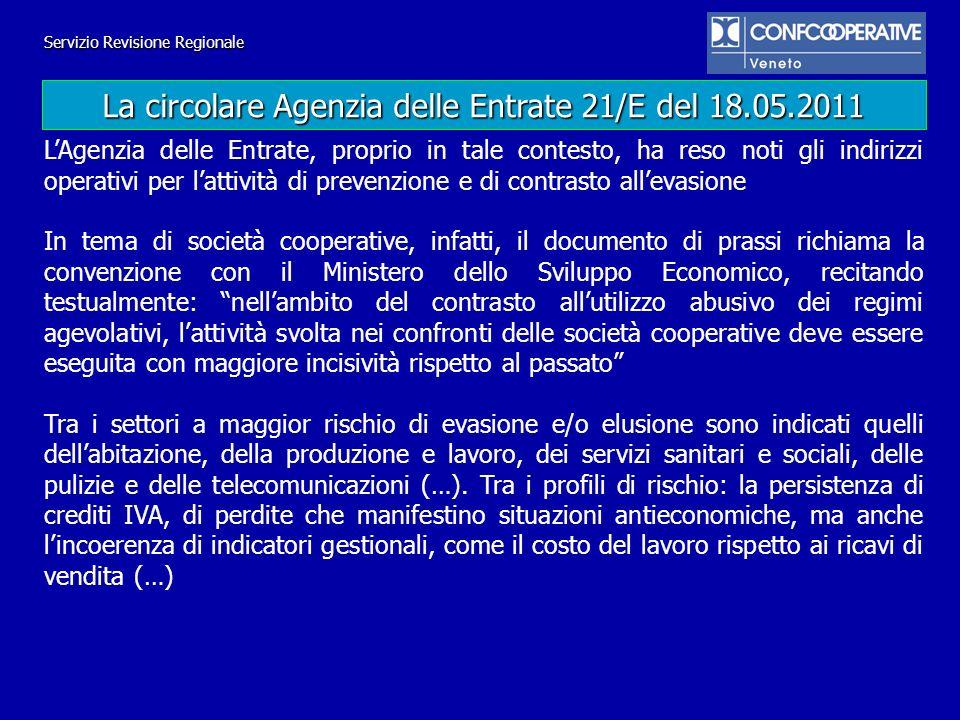 La circolare Agenzia delle Entrate 21/E del 18.05.2011