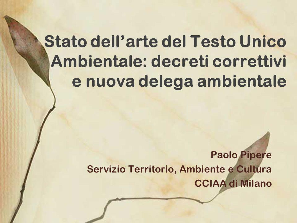 Paolo Pipere Servizio Territorio, Ambiente e Cultura CCIAA di Milano