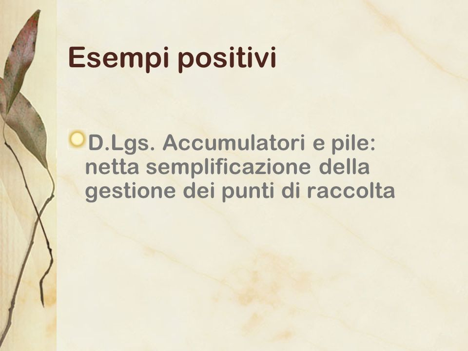 Esempi positivi D.Lgs.