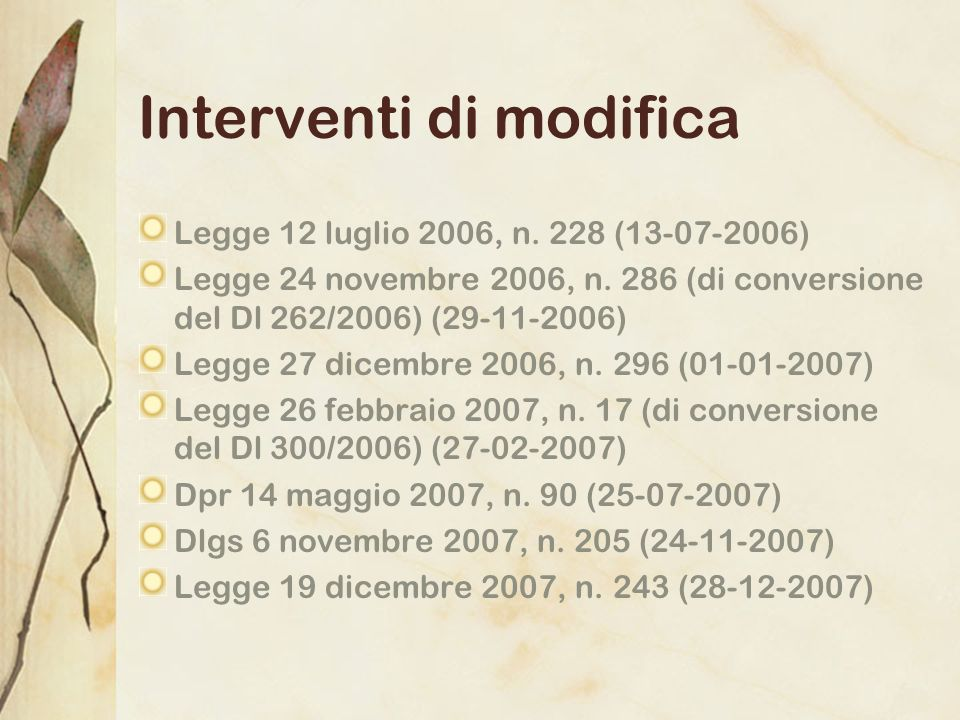 Interventi di modifica