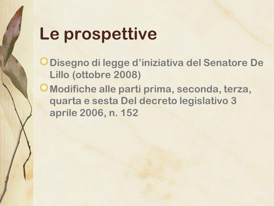 Le prospettive Disegno di legge d'iniziativa del Senatore De Lillo (ottobre 2008)