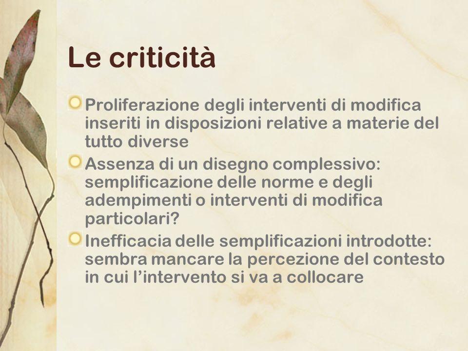 Le criticità Proliferazione degli interventi di modifica inseriti in disposizioni relative a materie del tutto diverse.