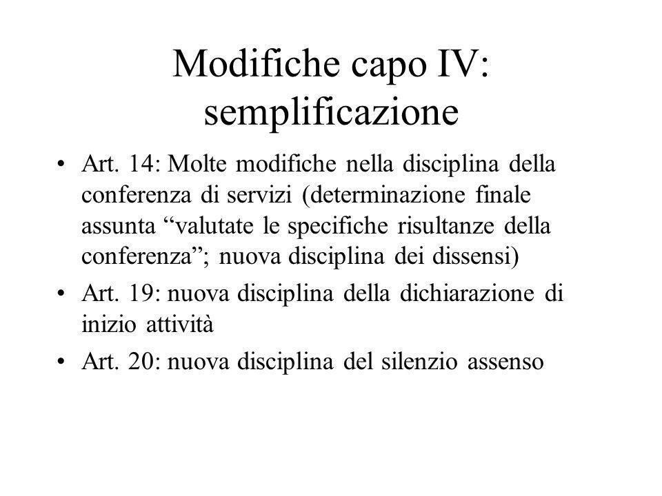 Modifiche capo IV: semplificazione