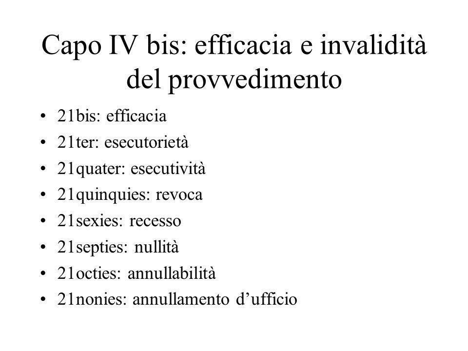 Capo IV bis: efficacia e invalidità del provvedimento