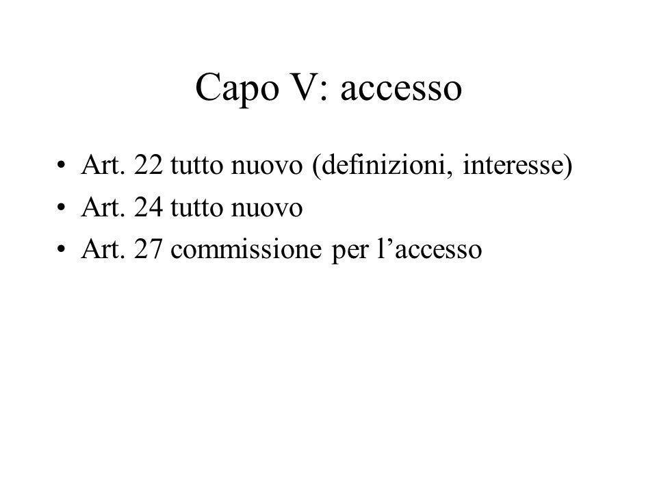 Capo V: accesso Art. 22 tutto nuovo (definizioni, interesse)
