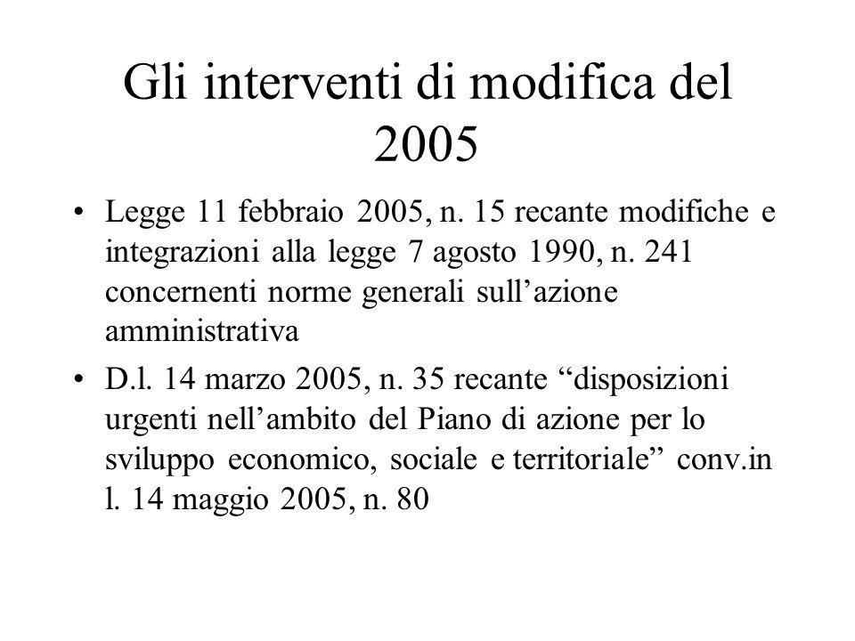 Gli interventi di modifica del 2005