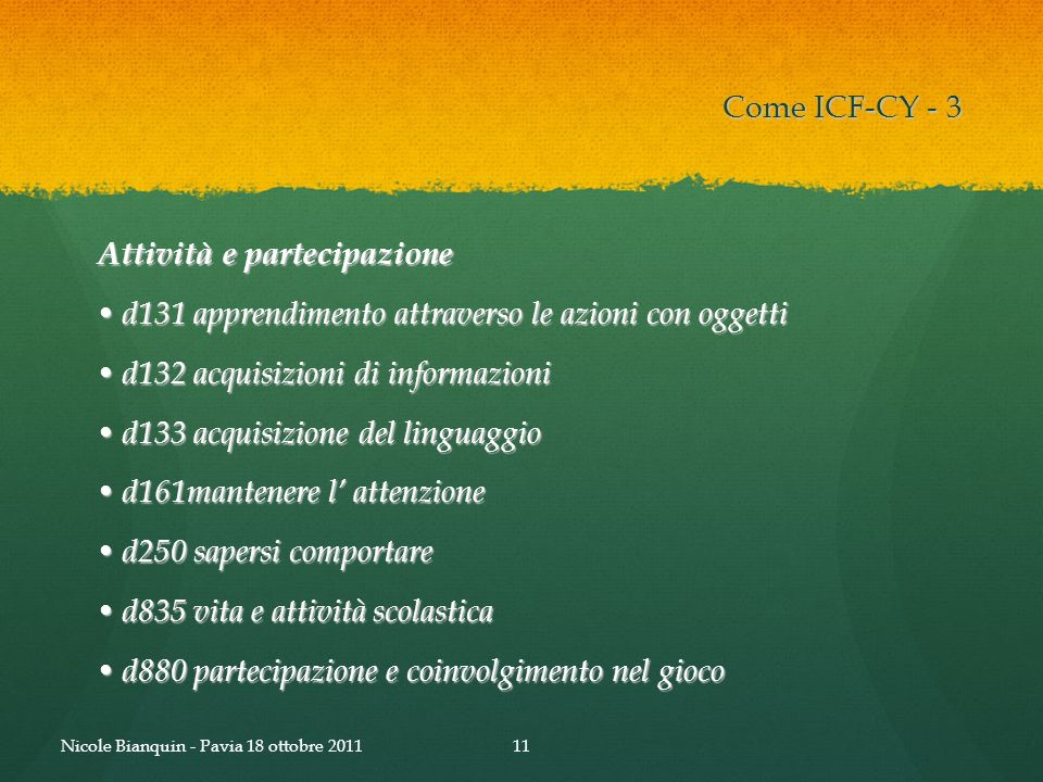 Come ICF-CY - 3