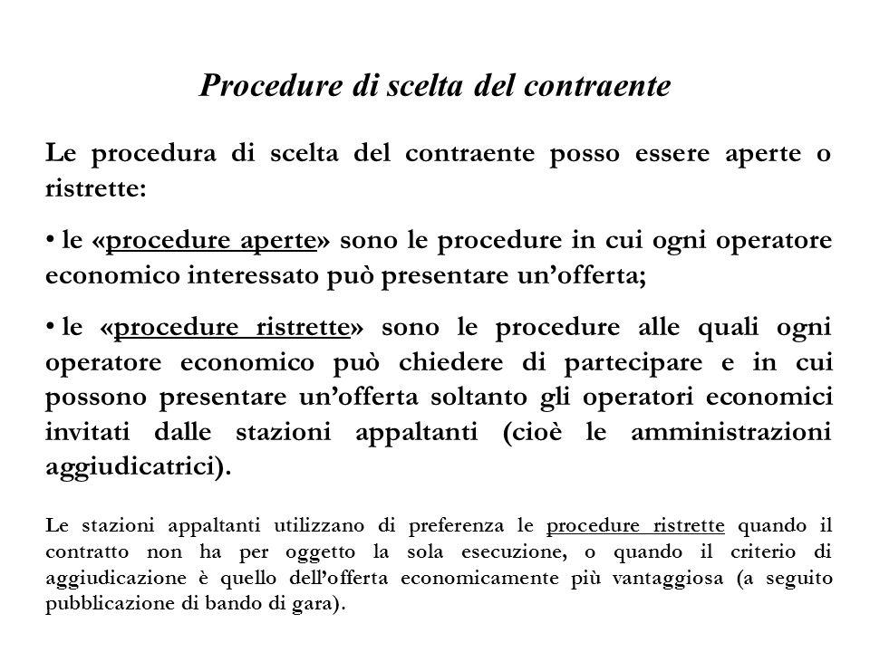 Procedure di scelta del contraente