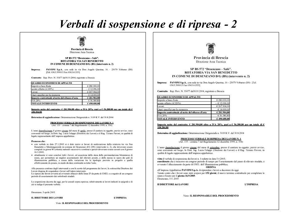 Verbali di sospensione e di ripresa - 2