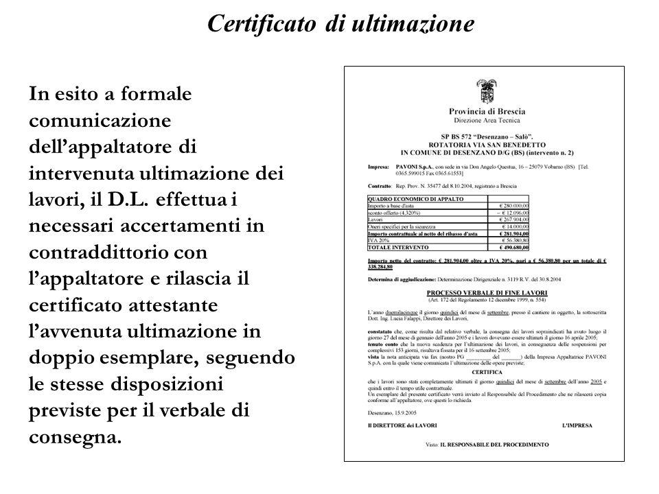 Certificato di ultimazione