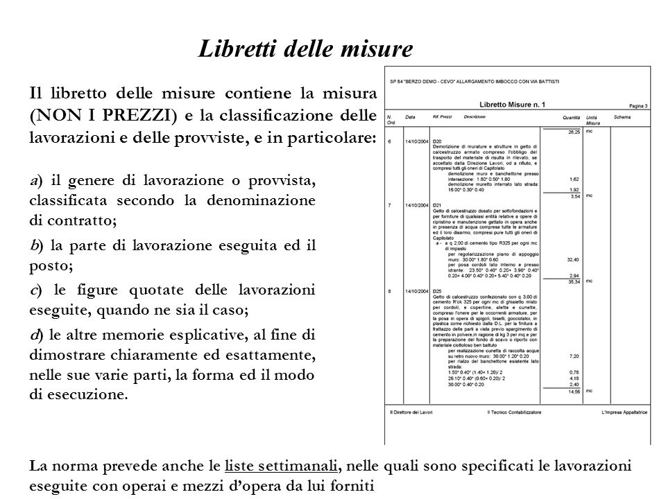 Libretti delle misure