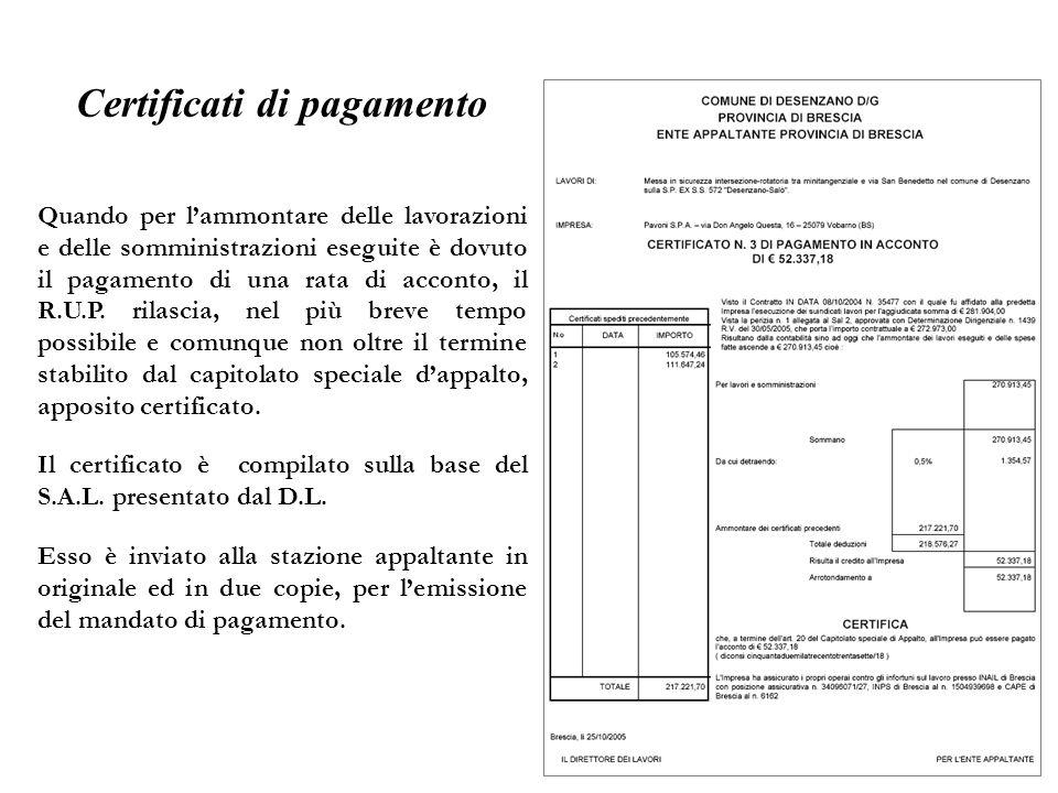 Certificati di pagamento