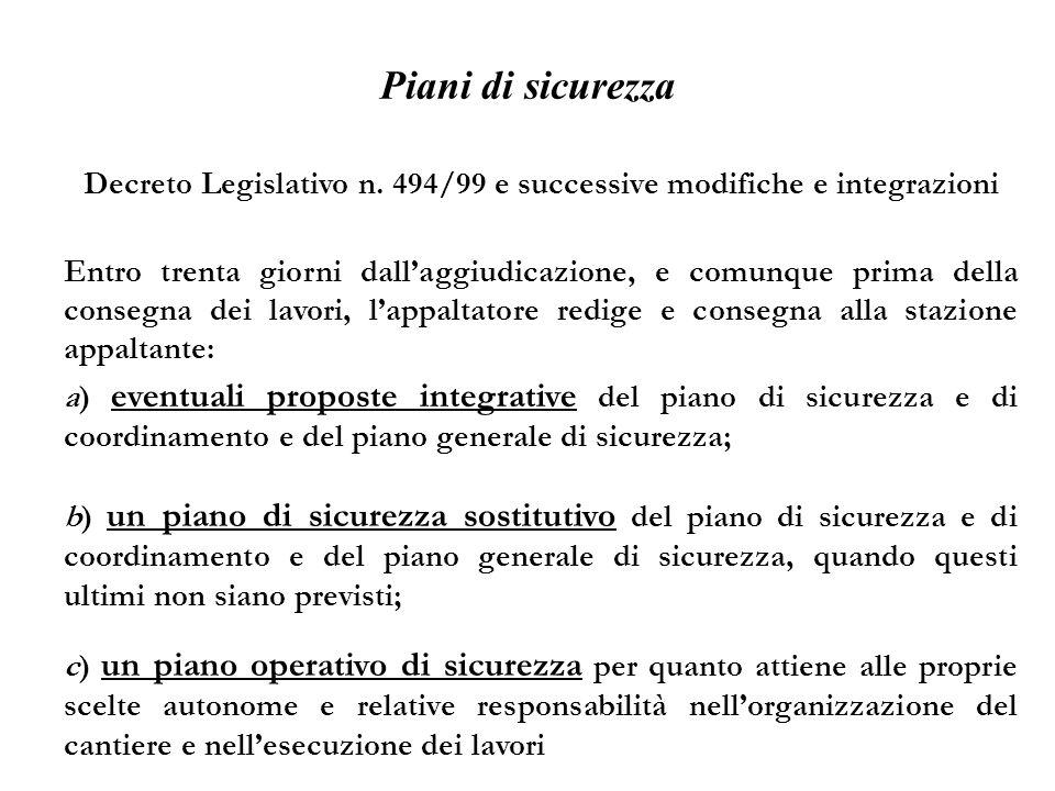 Decreto Legislativo n. 494/99 e successive modifiche e integrazioni