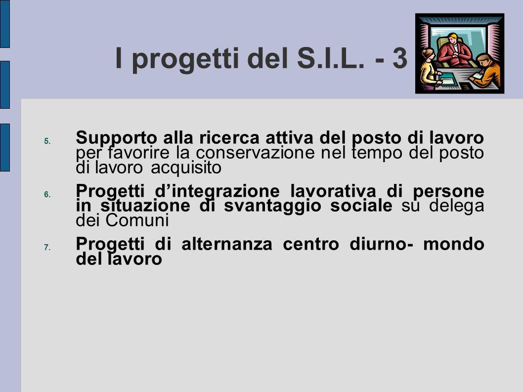I progetti del S.I.L. - 3 Supporto alla ricerca attiva del posto di lavoro per favorire la conservazione nel tempo del posto di lavoro acquisito.