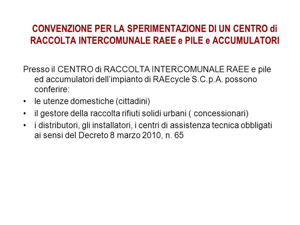 CONVENZIONE PER LA SPERIMENTAZIONE DI UN CENTRO di RACCOLTA INTERCOMUNALE RAEE e PILE e ACCUMULATORI