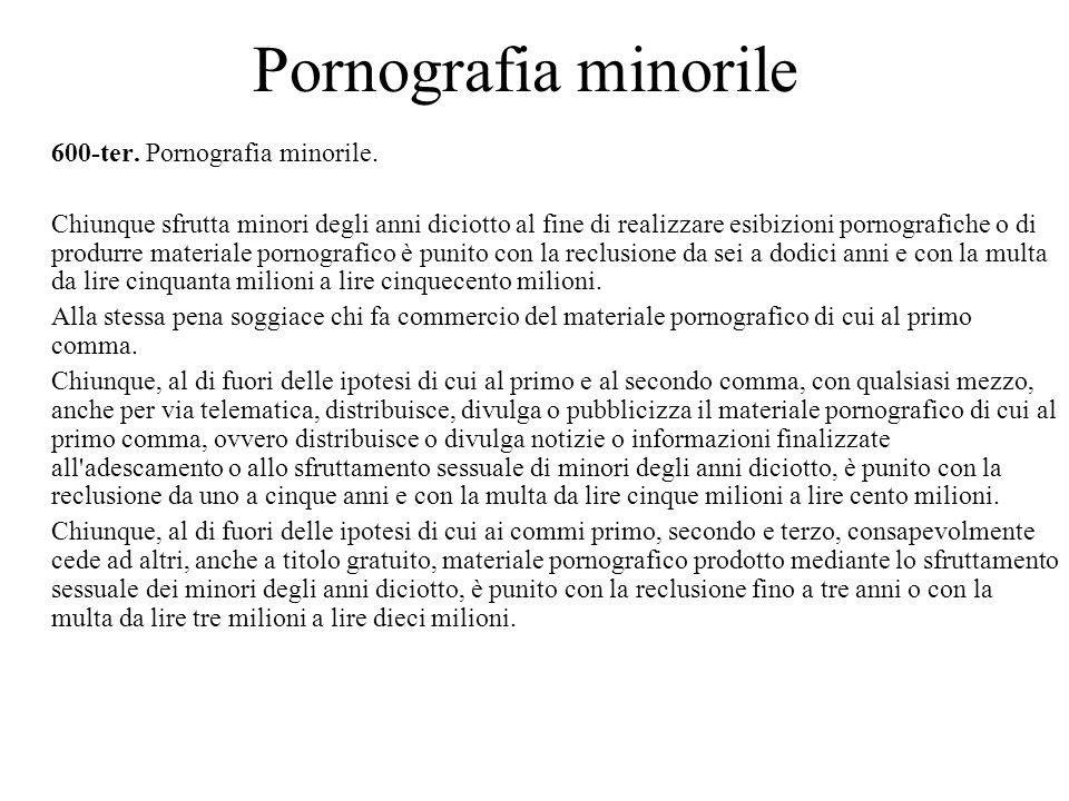 Pornografia minorile 600-ter. Pornografia minorile.
